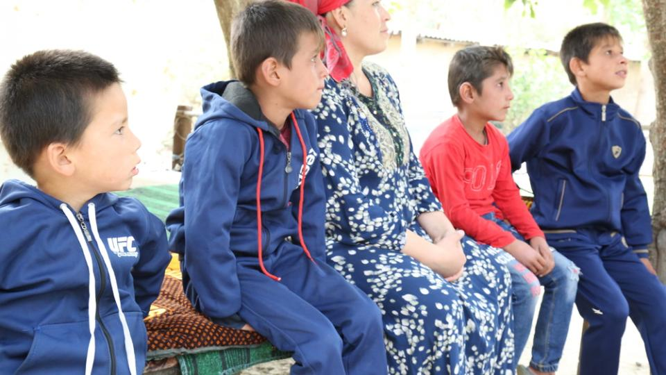 Gulnora and her two sons who have been diagnosed with extensively resistant TB