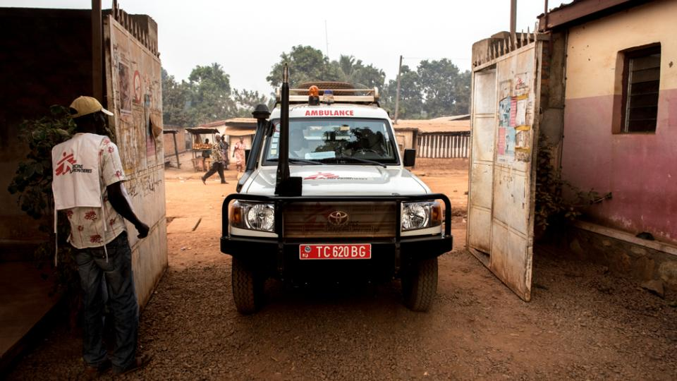 An MSF ambulance arrives at the Castor maternity hospital in Bangui.