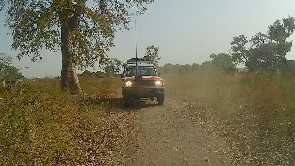 An MSF car on a dusty track in Chad