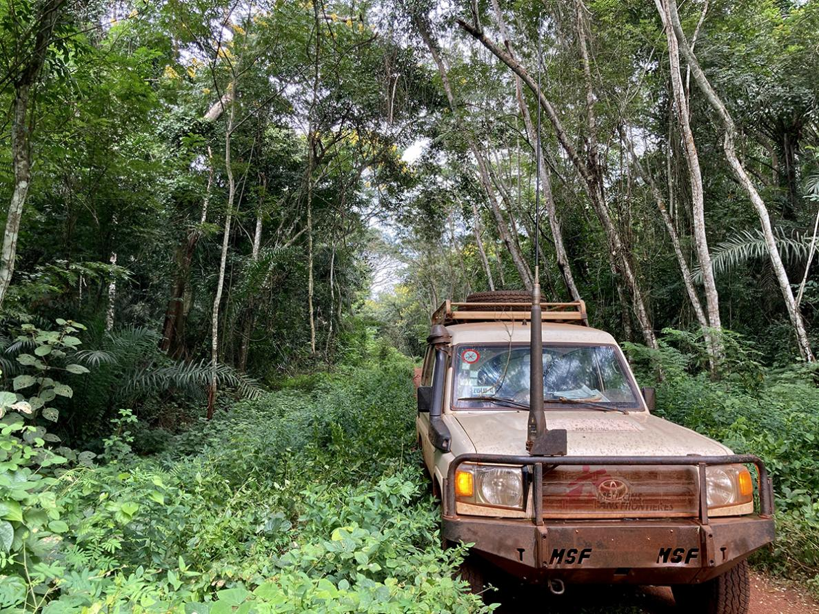 An msf car in the mud in Central African Republic